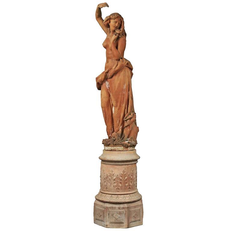 Monumental Italian 19th Century Terra Cotta Statue and Base