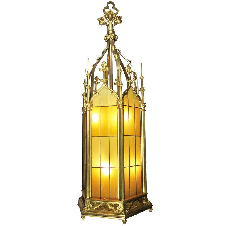 Set of Four Large French 19th-20th Century Gothic Style Gilt Bronze Lanterns