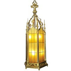 Set of Four Large French 19th-20th Century Gothic Style Gilt Bronze Lanterns