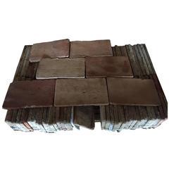 Original French Antique Parefeuilles Rectangular Terra Cotta Flooring