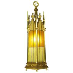 Set of Three Small French 19th-20th Century Gothic Style Gilt Bronze Lanterns