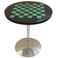 Estelle Laverne Nickel Side Table with Black Marble and Malachite Checker Board