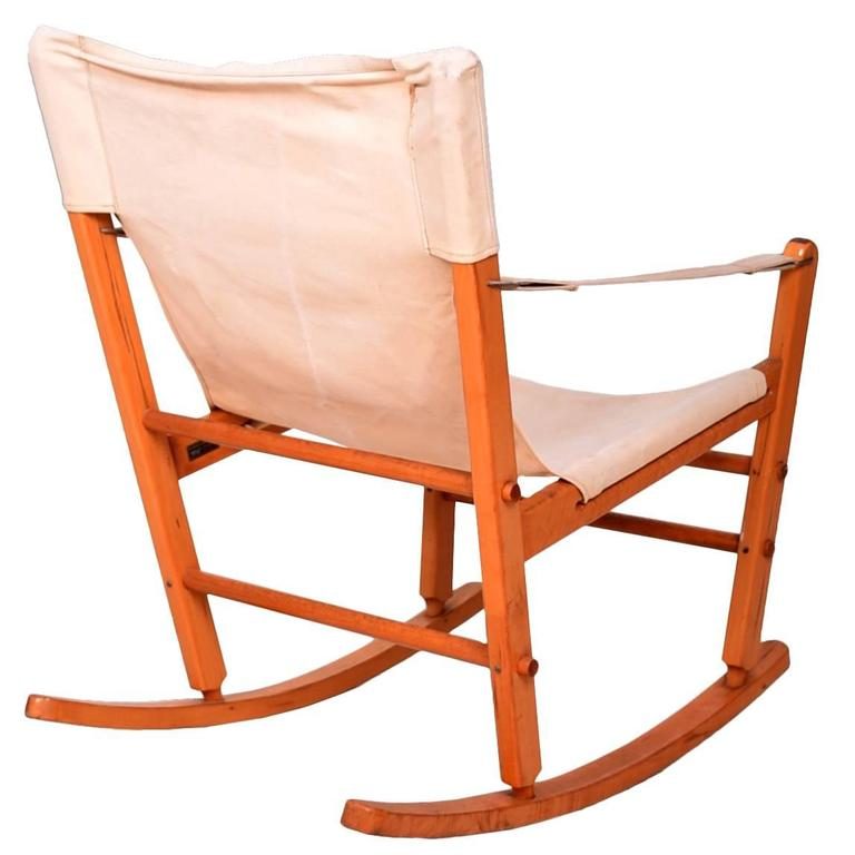 Mid Century Modern Safari Chair Rocker Solid Maple Canvas Gold Metal  Folding Co For Sale