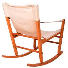 Mid-Century Modern Safari Chair Rocker Solid Maple Canvas Gold Metal Folding Co