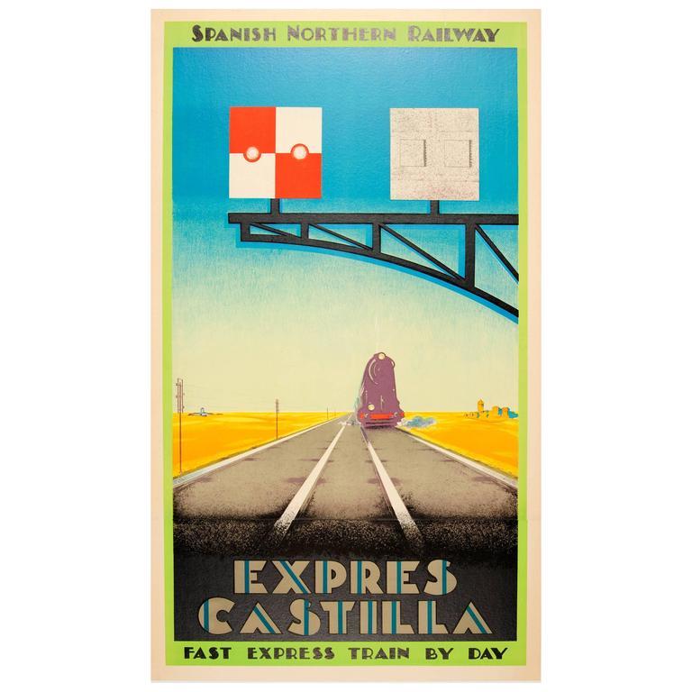 Original 1930s Art Deco Travel Poster Advertising the Spanish Northern Railway
