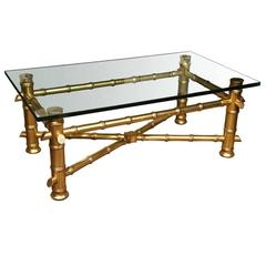 Gilt Faux Bamboo Coffee Table