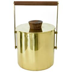 Italian Vintage Brass and Walnut Ice Bucket