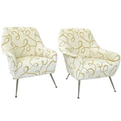 Pair of Vintage Italian Lounge Chairs by Gigi Radice