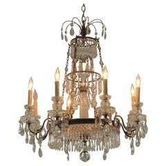 Vintage Tiered Bronze and Crystal Chandelier