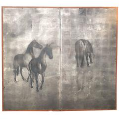 Japan Silver Leaf Two-Panel Screen Grazing Horses, Taisho Period
