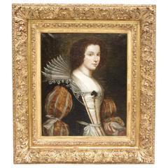 Oil on Canvas, Portrait of a Lady, Renaissance Style, 19th Century