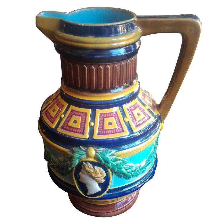 Minton Majolica, Pitcher Inspired by Antiquity, circa 1865