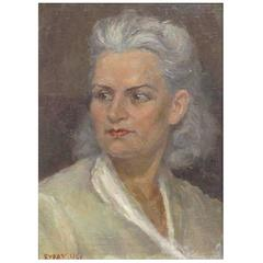 Portrait of a Russian Woman with Grey Hair by Alexander Burak, Dated 1946