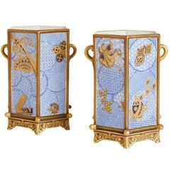 Pair of Hexagonal Royal Worcester Porcelain 'Japonisme' Vases