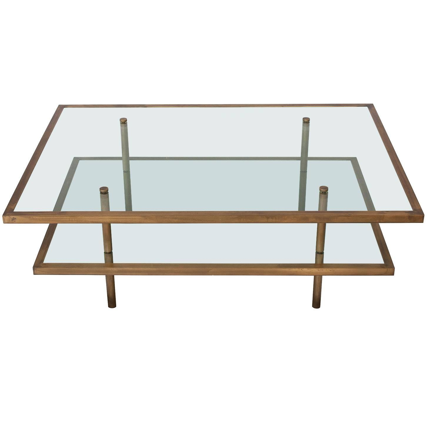 French Bronze and Glass Two Tier Coffee Table at 1stdibs