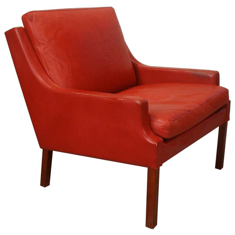 Vintage Danish Red Leather Club Chair By Mogens Hansen At