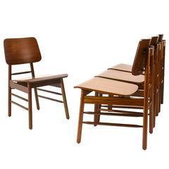 Set of Four Walnut Dining Chairs by Greta Grossman