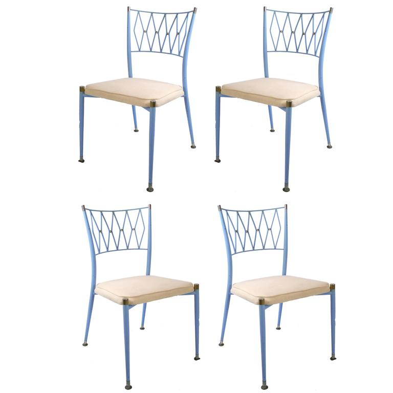 Set Of Four Mid Century French Metal And Brass Dining Chairs For Sale At 1stdibs