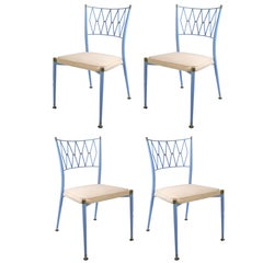 Set of Four Mid-Century French Metal and Brass Dining Chairs