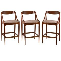 Set of Three Danish Bar Stools by Johannes Andersen