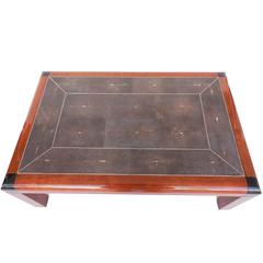 Karl Springer Shagreen and Wood Coffee Table, 1987