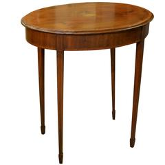 Edwardian Inlaid Oval Mahogany Occasional Table