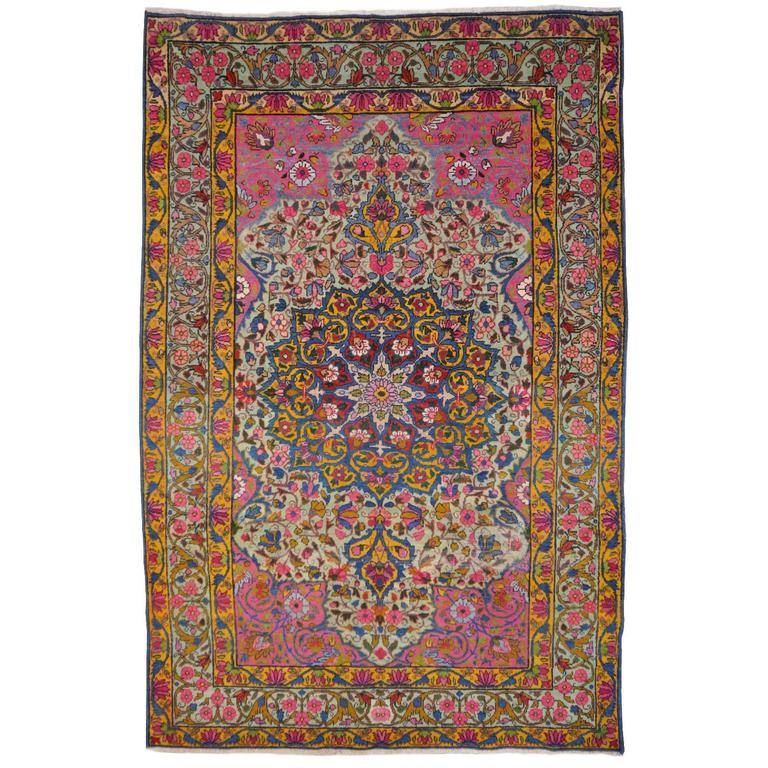 Antique Persian Kerman Rug with Unique Colors For Sale