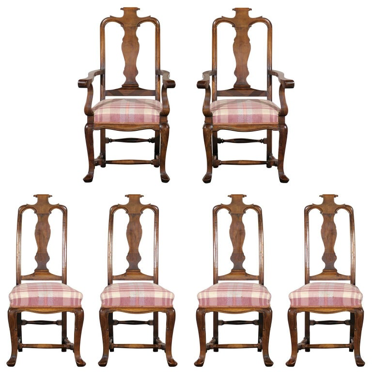19th Century Set of Six Continental Provincial Dining Chairs For Sale