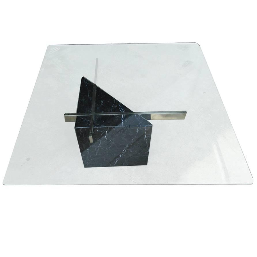 Italian Marble Coffee Table Artedi Italian Marble And Glass Coffee Table At 1stdibs