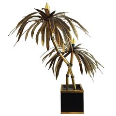 French Brass Palm Tree Lamp