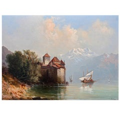 19th Century Oil Painting Chateau Chillon Lake Geneva, Switzerland