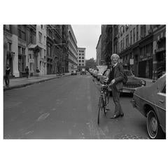 "Robert Levin, ""Andy Warhol With Bike on 11th Street, NYC 1981"" Print, USA, 2015"