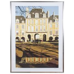 """Framed """"Place de Vosges"""" Lithograph by Parisian Artist Jean-Jacques Grief"""