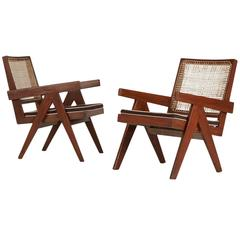 Pierre Jeanneret Chandigarh Easy Armchairs, Set of Two, 1950s