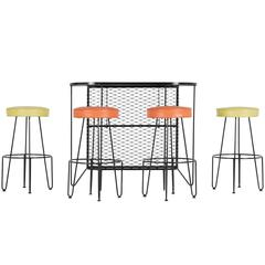 Frederick Weinberg, Restored Five-Piece Wrought Iron Bar and Stools, 1950s