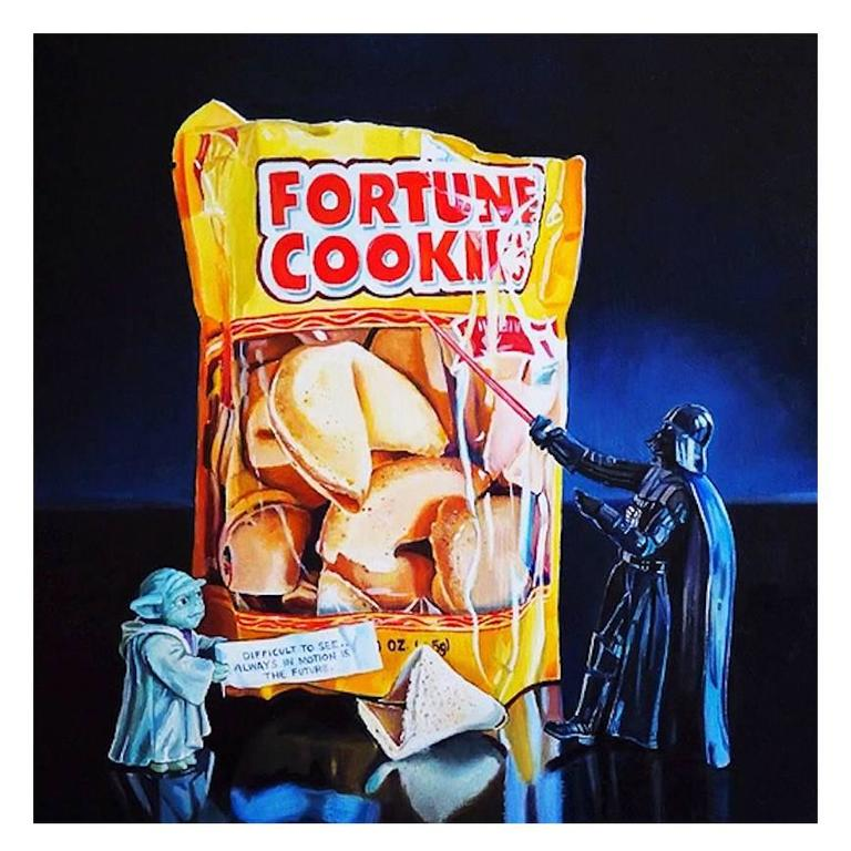 Contemporary Photo Realist 'Yoda's Fortune' Oil on Wood Panel 2015 by ME