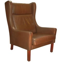 Leather Wing Chair in Danish Modern Børge Mogensen Style, circa 1970