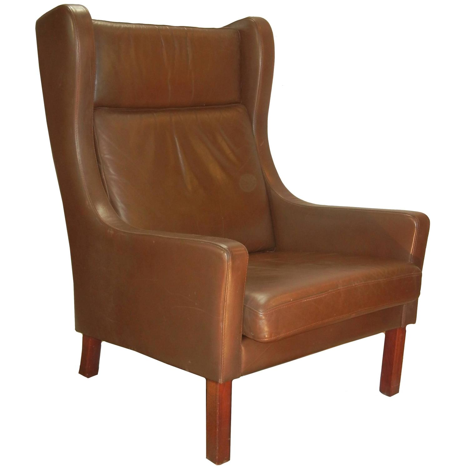 Leather Wing Chair In Danish Modern Børge Mogensen Style