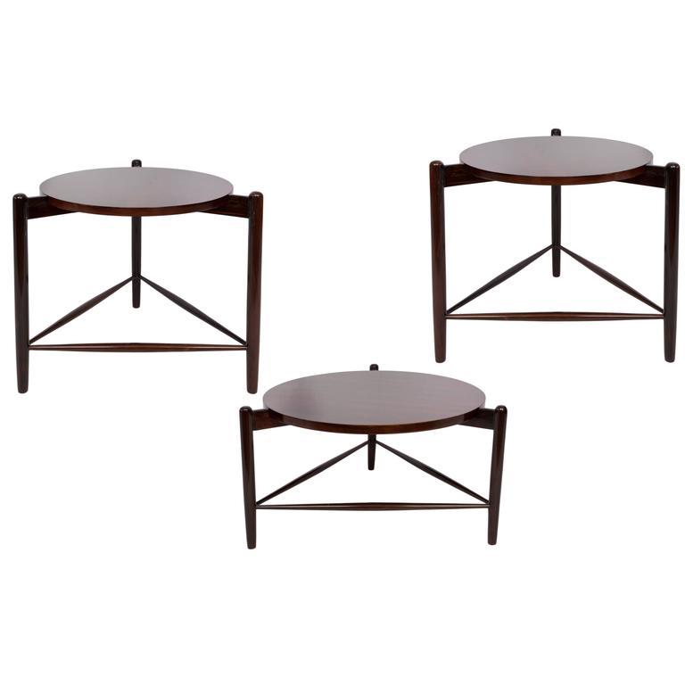 Set of Three Joaquim Tenreiro Round Side Tables in Brazilian Jacaranda