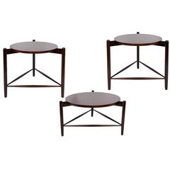 Set of Three Joaquim Tenreiro Round Side Tables in Brazilian Jacaranda