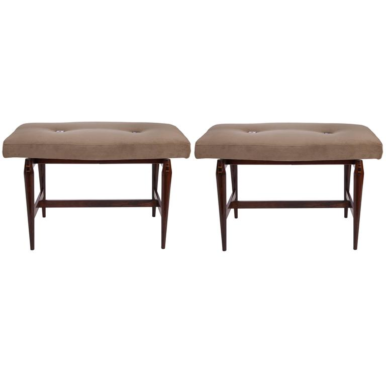 Pair of Liceu de Artes & Oficios Jacaranda Stools with Velvet Seats