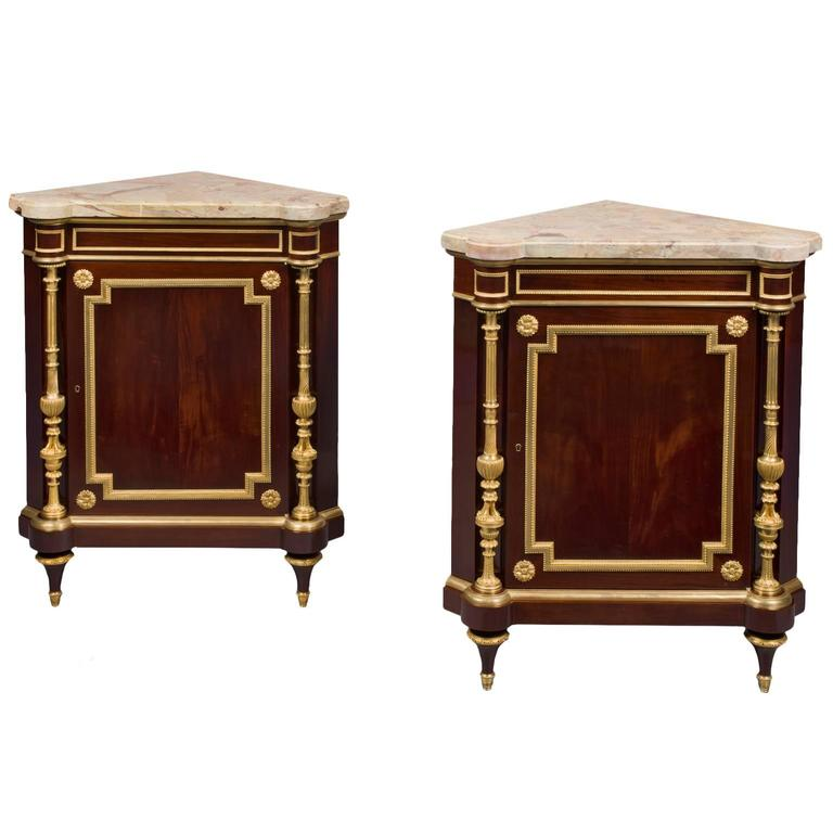 Pair of Louis XVI Style Corner Cabinets by Henry Dasson