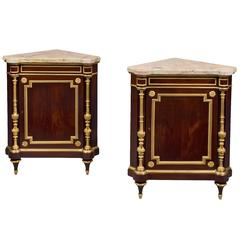 Pair of Louis XVI Style Corner Cabinets by Henry Dasson, circa 1890