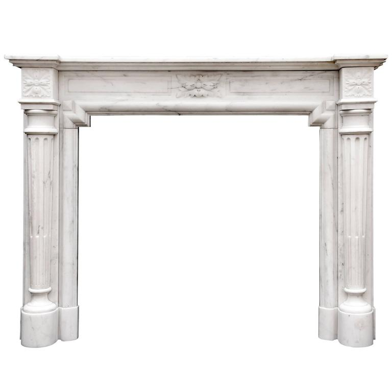 French Louis XVI Style Fireplace in Statuary Marble
