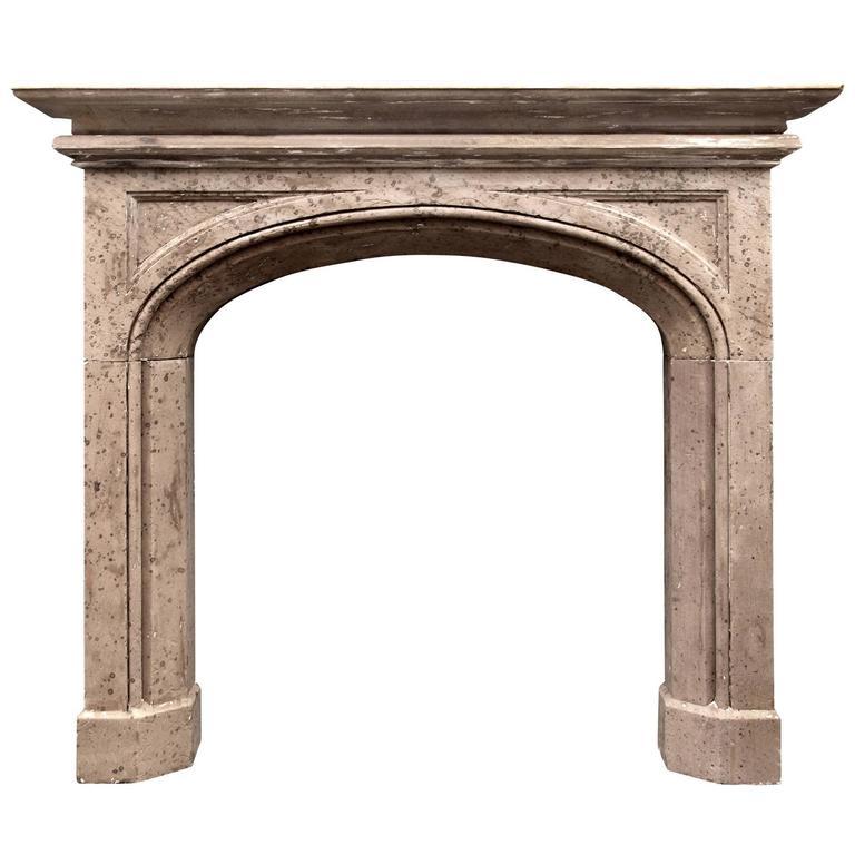 19th Century English Gothic Style Stone Fireplace