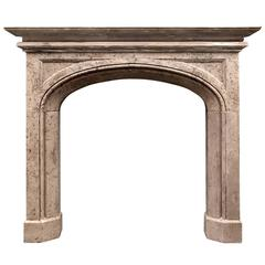 19th Century English Gothic Style Stone Fireplace