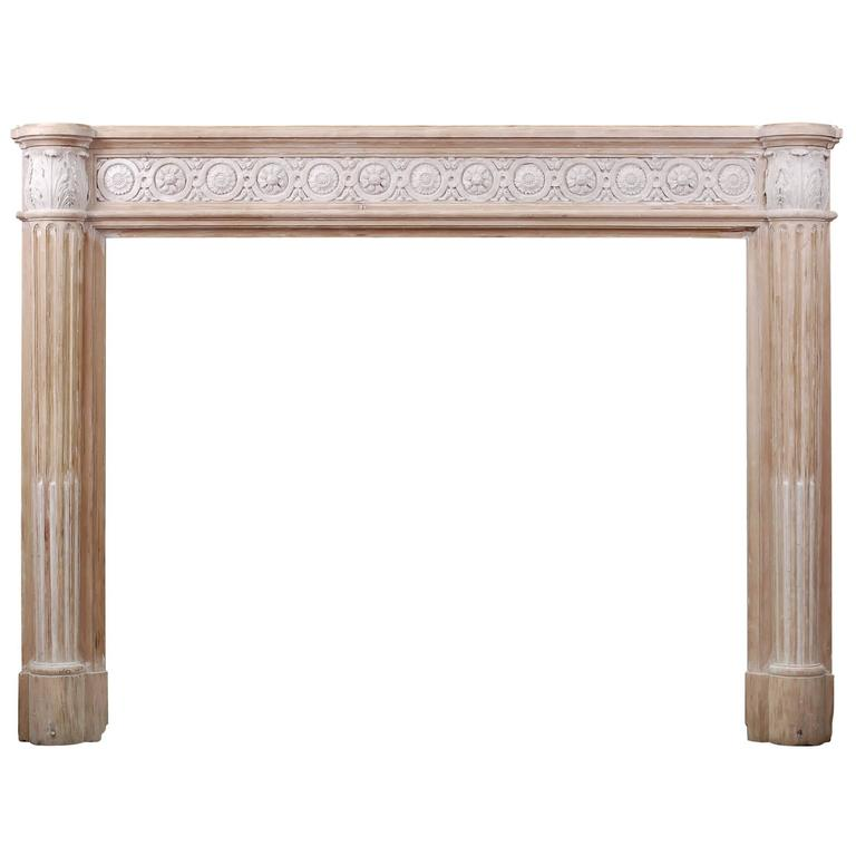 French Louis XVI Style Wood Fireplace with Composition Enrichments