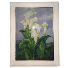 "Italian 1940s Painting ""Calla Lilies"""