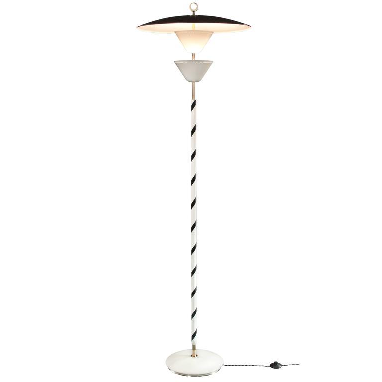 Stilnovo, Rare Italian Painted Metal and Brass Floor Lamp, Mid 20th Century