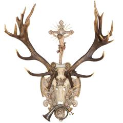 19th Century St. Hubertus Red Stag Hunt Trophy with Hunt Horn & Crucifix